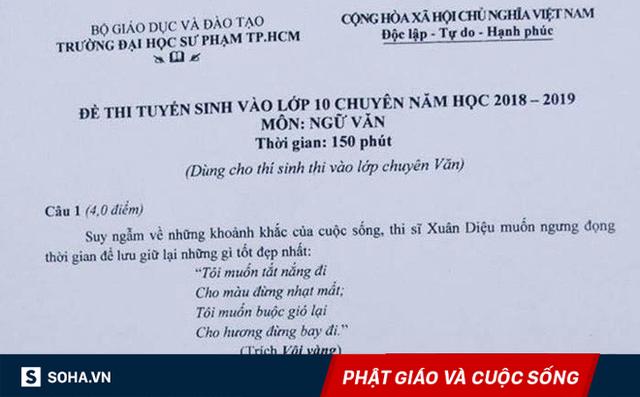 Đề thi chuyên văn lớp 10 ở TP.HCM ra câu hỏi đầy bất ngờ về Xuân Diệu và một nhà sư