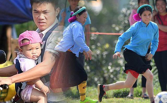Cánh đàn ông địu con ngắm chị em mặc váy, xỏ giày biểu diễn bóng đá kỹ thuật chẳng kém Quang Hải