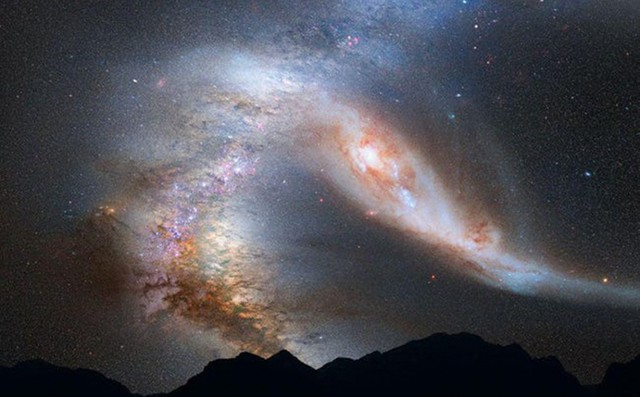 Kinh ngạc cảnh tượng ngoạn mục các thiên hà 'nuốt chửng' nhau