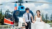 """Ảnh cưới """"sang chảnh"""" trên trực thăng của cặp đôi Hà Thành"""