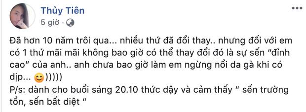 Thuỷ Tiên nổi da gà khi nhận được tin nhắn sến đỉnh cao từ Công Vinh nhân ngày 20/10 - Ảnh 2.