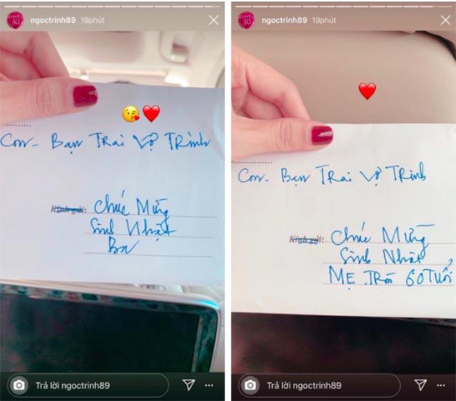Ngọc Trinh khoe quà bạn trai tặng bố mẹ và dòng chữ được viết trên phong bì gây chú ý - Ảnh 1.