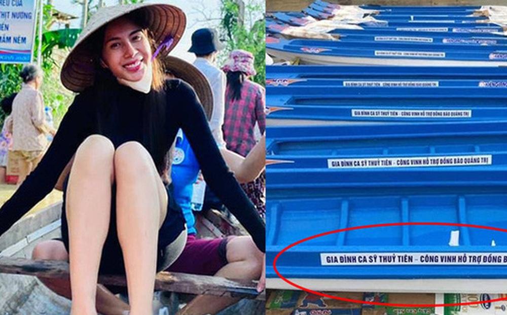 Netizen tranh cãi hình ảnh Thuỷ Tiên tặng thuyền máy cứu trợ miền Trung nhưng chỉ ghi tên 2 vợ chồng, phía chính chủ nói gì?