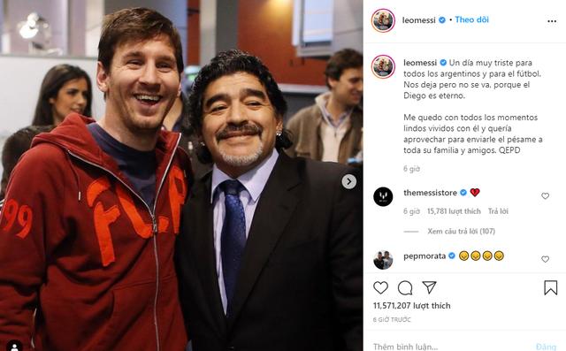 Messi, Ronaldo đau buồn gửi lời chia tay huyền thoại Maradona